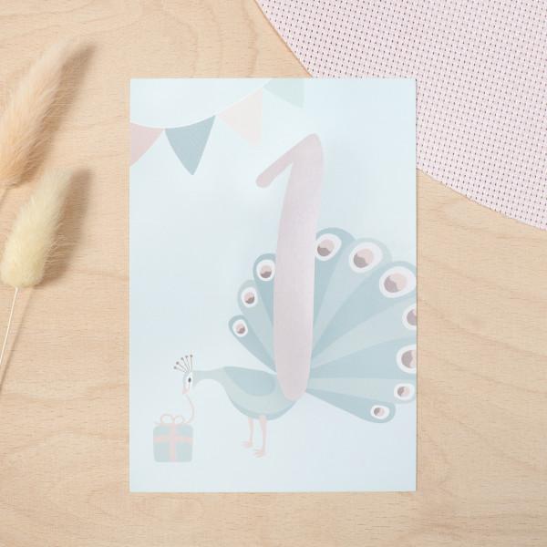"Geburtstag Glückwunschkarte ""1"" - Pfau"