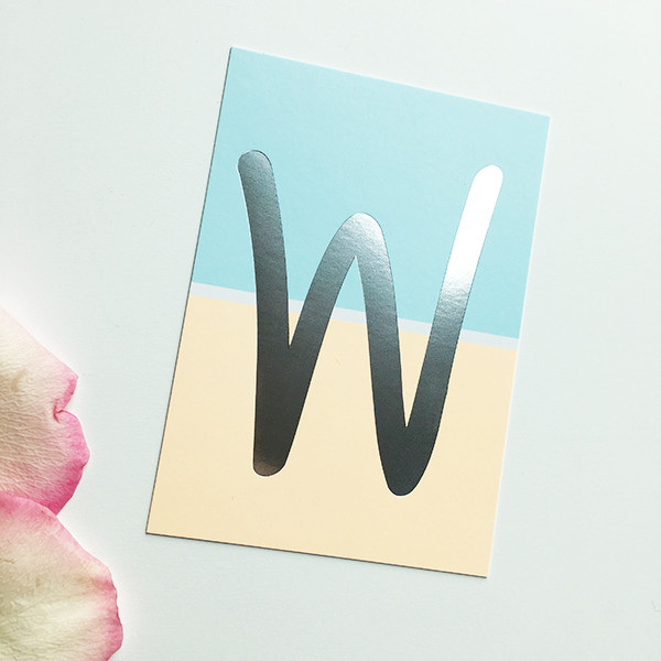 "Mini-Kärtchen ""W"" - Silber & Pastell"