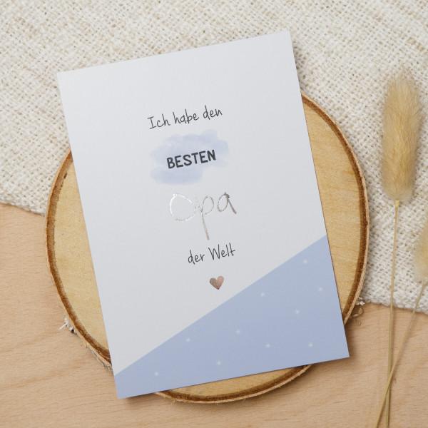 "Postkarte Silber ""Bester Opa"""
