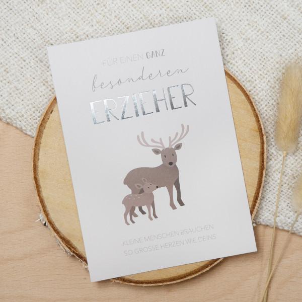 "Postkarte Silber ""Bester Erzieher"""