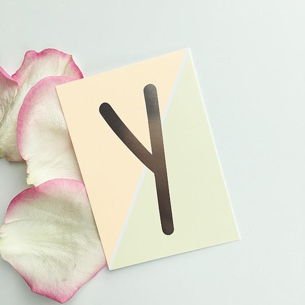 """Mini-Kärtchen """"Y"""" - Silber & Pastell"""