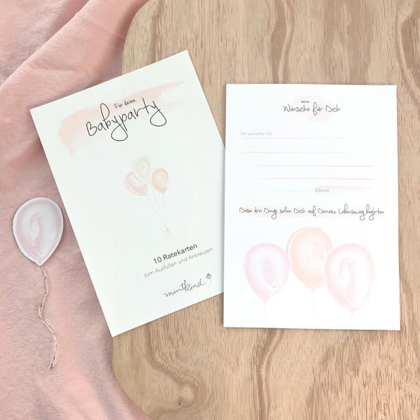 "Ratekarten ""Babyparty"" rosa"