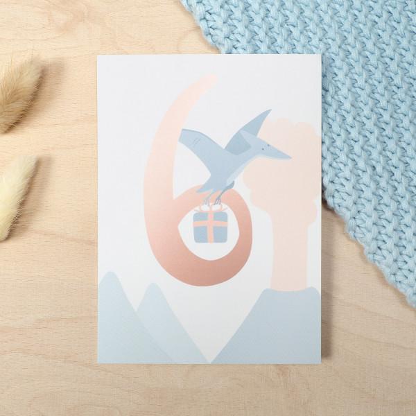 "Geburtstag Glückwunschkarte ""6"" - Dino"