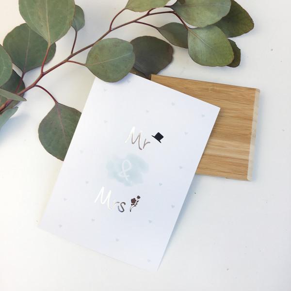 "Postkarte Silber ""Mr & Mrs"""