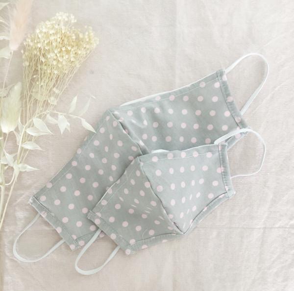 Masken Set für Eltern und Kind - Grau/Rosa