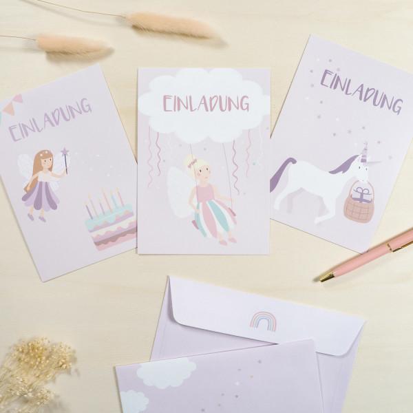 Einladungskarten Set zum Kindergeburtstag - Feen