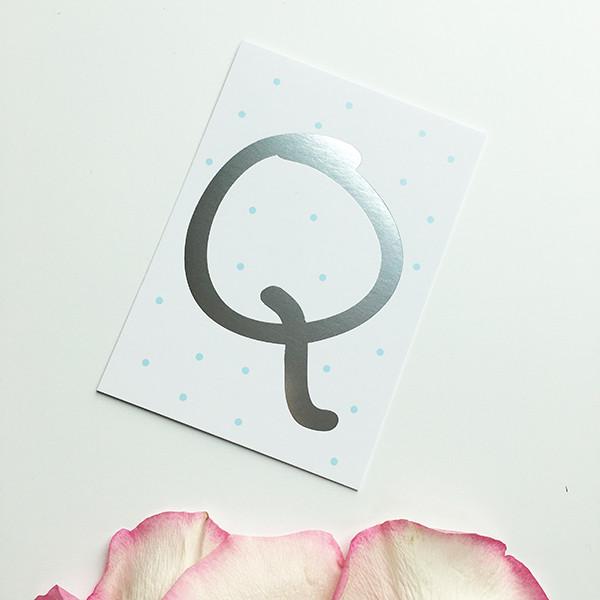 "Mini-Kärtchen ""Q"" - Silber & Pastell"