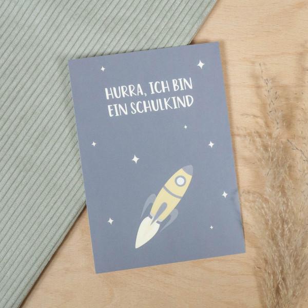 """Postkarte """"Hurra, ich bin ein Schulkind"""" Weltraum"""