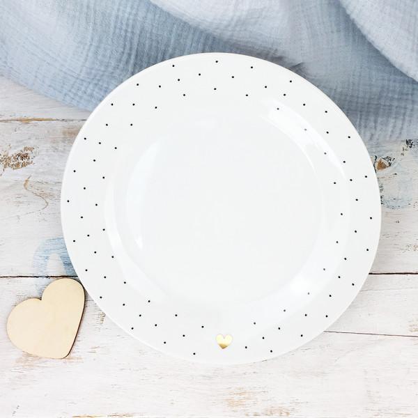 Porzellan Teller Punkte/Herz