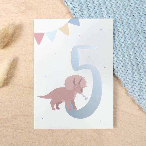"Geburtstag Glückwunschkarte ""5"" - Dino"