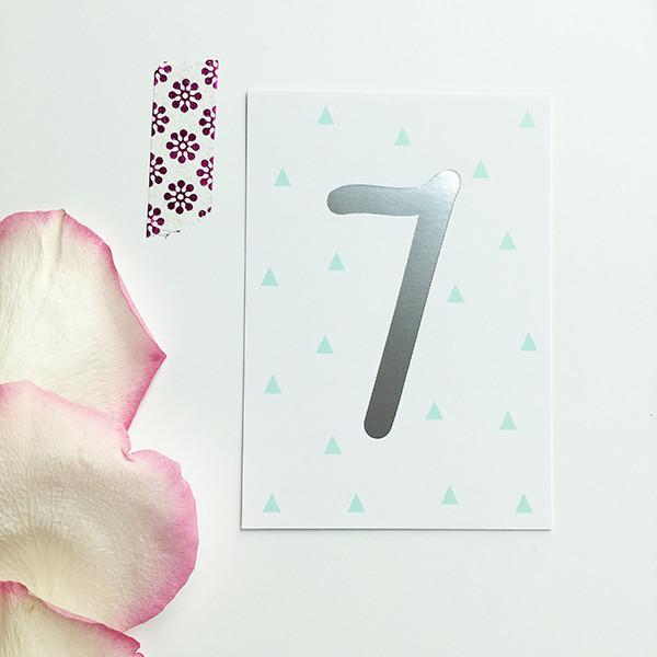 """Mini-Kärtchen """"7"""" - Silber & Pastell"""