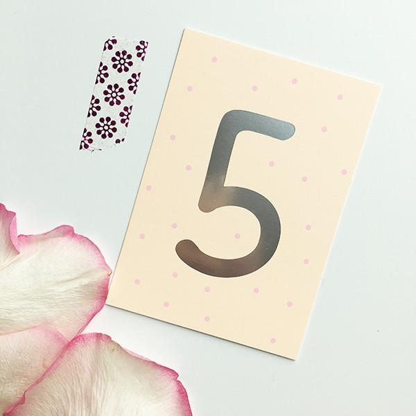 """Mini-Kärtchen """"5"""" - Silber & Pastell"""