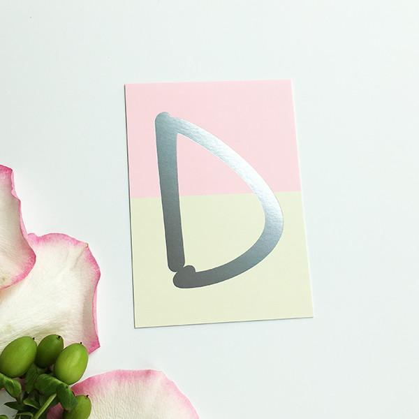 """Mini-Kärtchen """"D"""" - Silber & Pastell"""