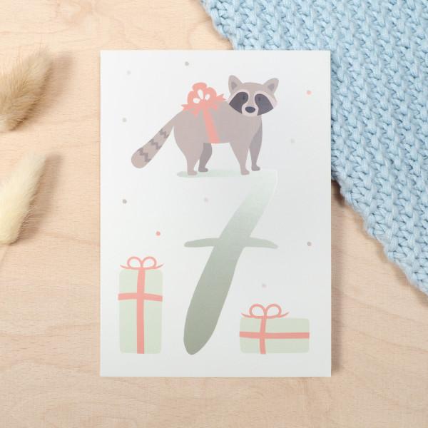 """Geburtstag Glückwunschkarte """"7"""" - Waschbär"""