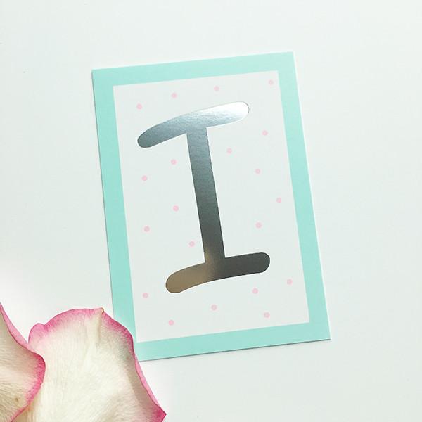 """Mini-Kärtchen """"I"""" - Silber & Pastell"""