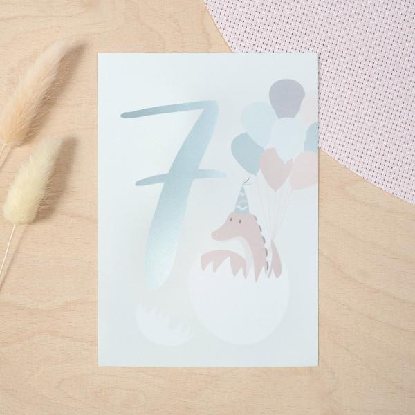 "Geburtstag Glückwunschkarte ""7"" - Dino"
