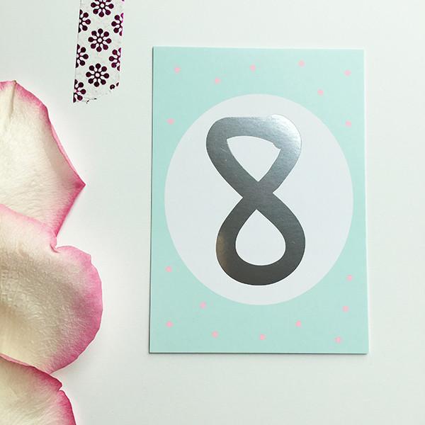 """Mini-Kärtchen """"8"""" - Silber & Pastell"""