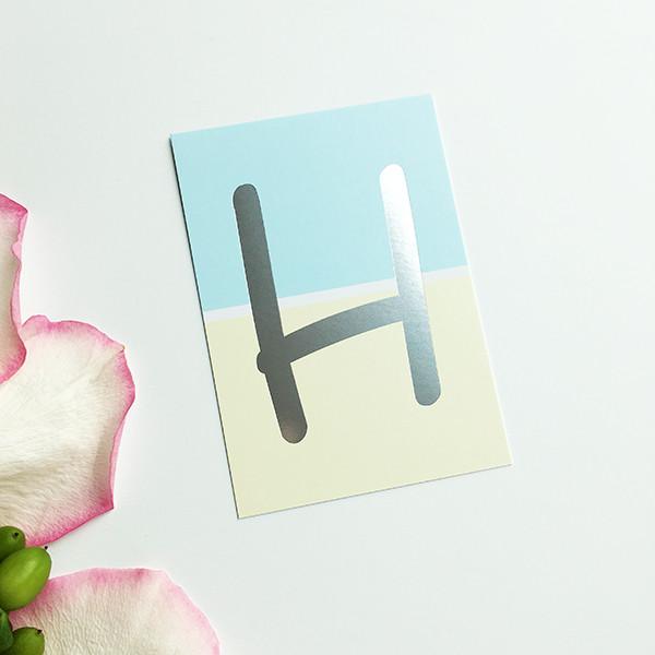 "Mini-Kärtchen ""H"" - Silber & Pastell"