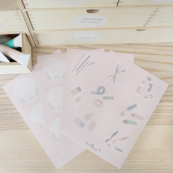 Ordnungssticker Schreibtisch - Rosa