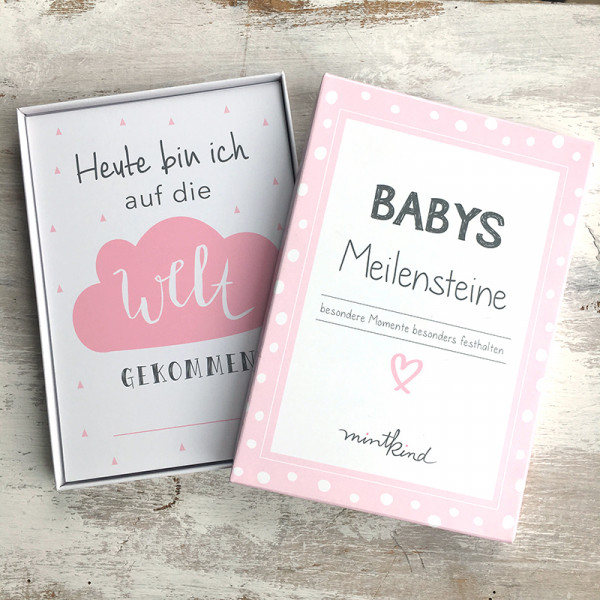 Baby Meilensteinkarten - rosa