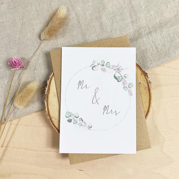 """Glückwunschkarte zur Hochzeit """"Mr. & Mrs."""""""