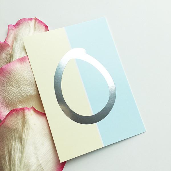 """Mini-Kärtchen """"0"""" - Silber & Pastell"""
