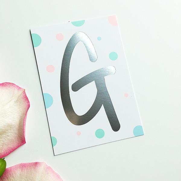 """Mini-Kärtchen """"G"""" - Silber & Pastell"""