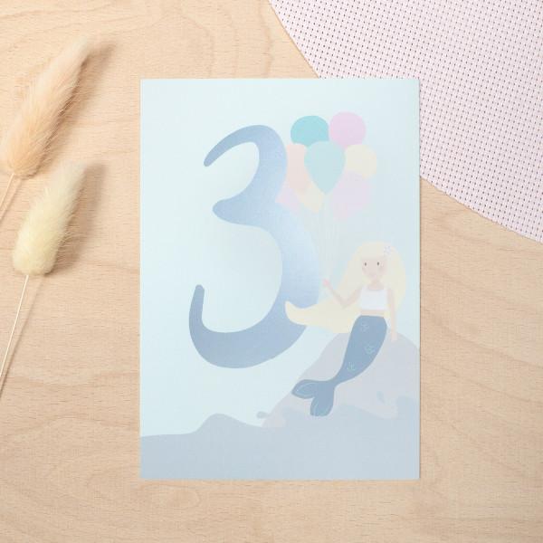 """Geburtstag Glückwunschkarte """"3"""" - Meerjungfrau"""