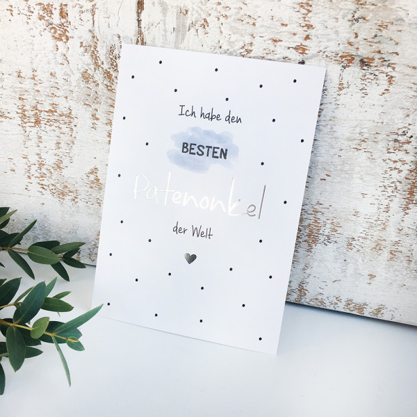 """Postkarte Silber """"Bester Patenonkel"""""""