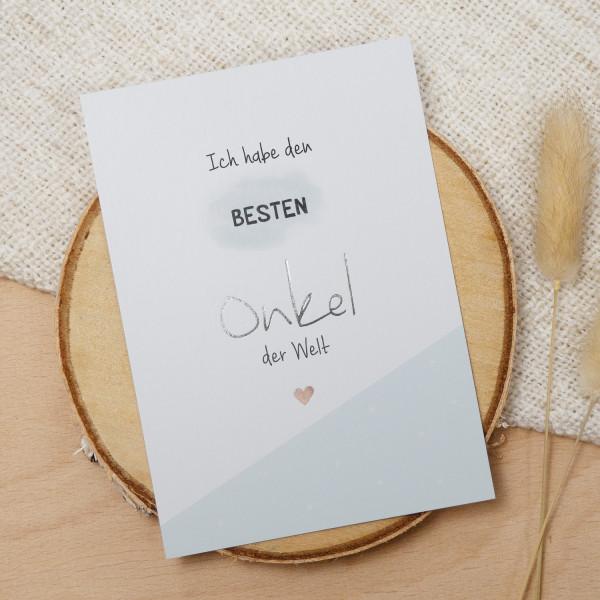 """Postkarte Silber """"Bester Onkel"""""""