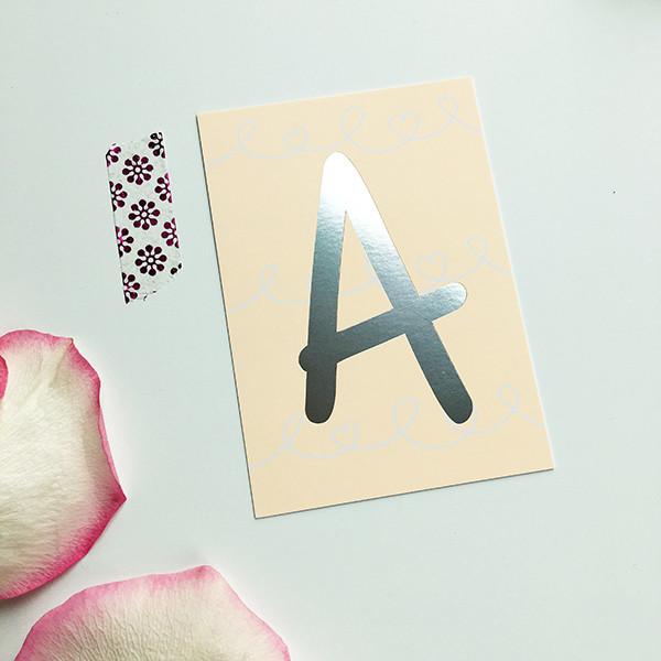 "Mini-Kärtchen ""A"" - Silber & Pastell"