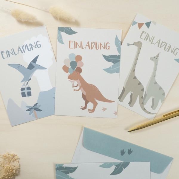 Einladungskarten Set zum Kindergeburtstag - Dinosaurier