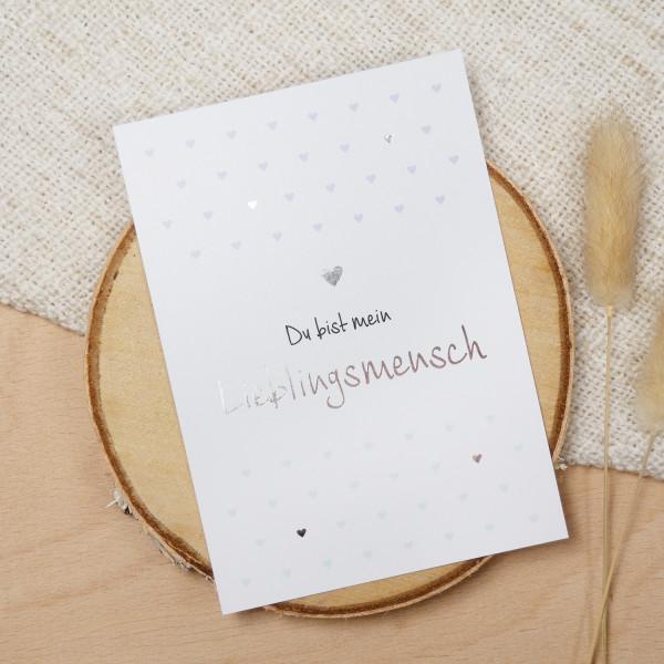 """Postkarte Silber """"Lieblingsmensch"""""""