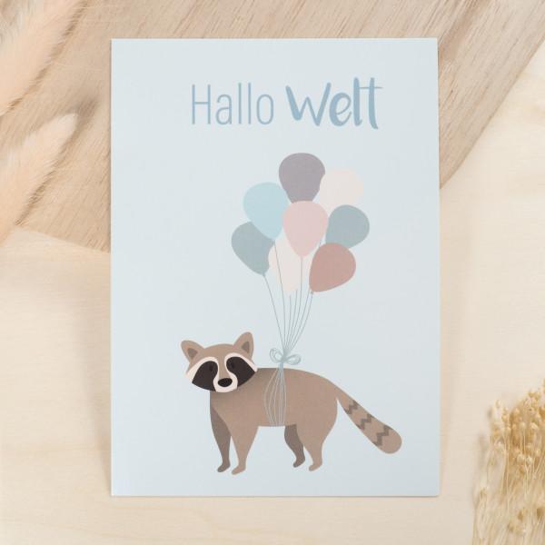 """Glückwunschkarte zur Geburt """"Hallo Welt"""" - Waschbär"""