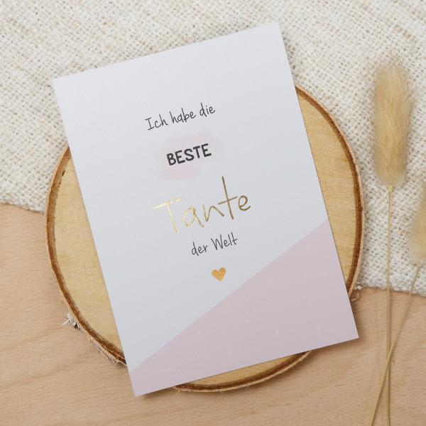"Postkarte Gold ""Beste Tante"""