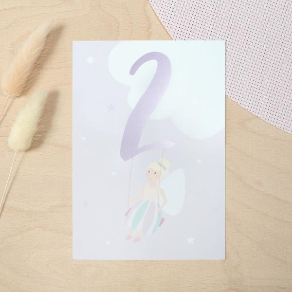 "Geburtstag Glückwunschkarte ""2"" - Fee"