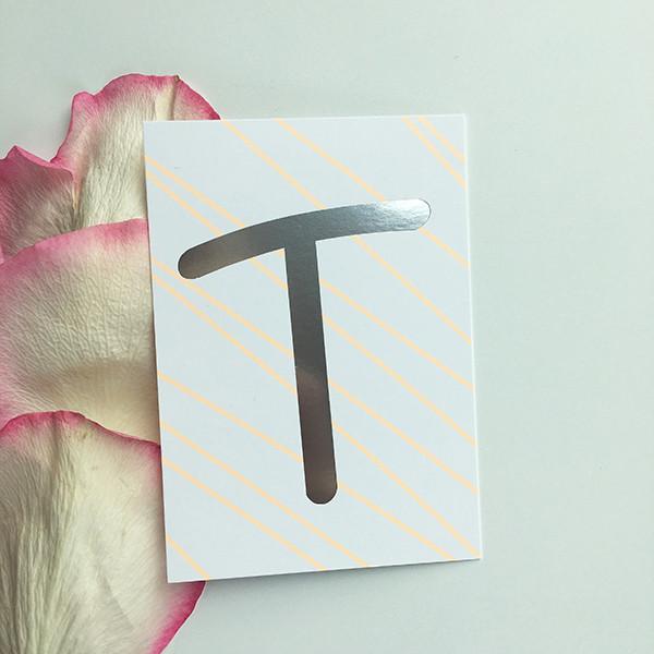 """Mini-Kärtchen """"T"""" - Silber & Pastell"""