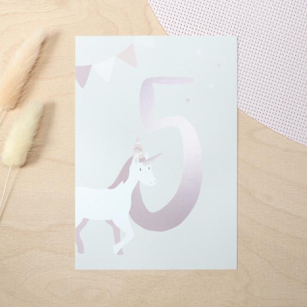 """Geburtstag Glückwunschkarte """"5"""" - Einhorn"""