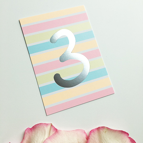 """Mini-Kärtchen """"3"""" - Silber & Pastell"""