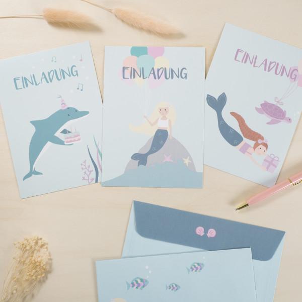 Einladungskarten Set zum Kindergeburtstag - Meerjungfrau
