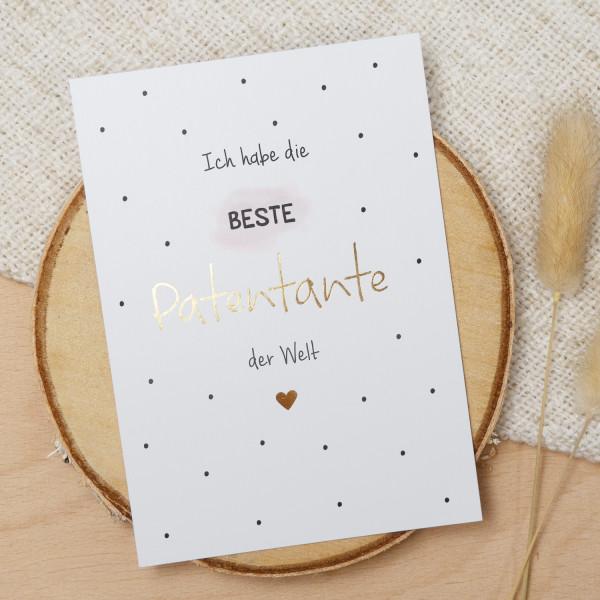 "Postkarte Gold ""Beste Patentante"""
