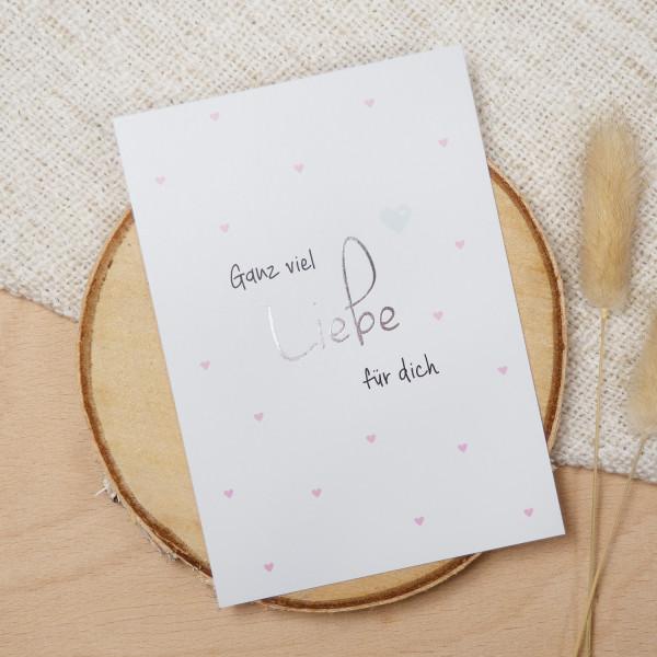 """Postkarte Silber """"Ganz viel Liebe für dich"""""""
