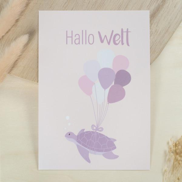 """Glückwunschkarte zur Geburt """"Hallo Welt"""" - Schildkröte"""
