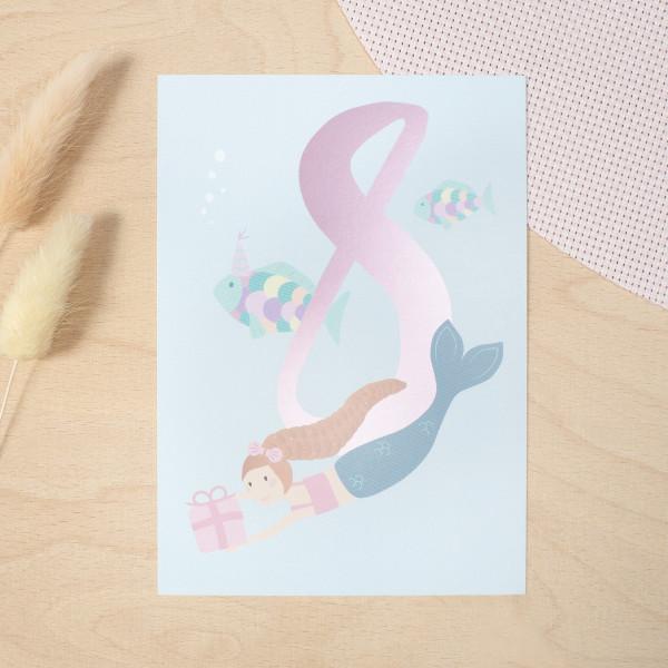 """Geburtstag Glückwunschkarte """"8"""" - Meerjungfrau"""