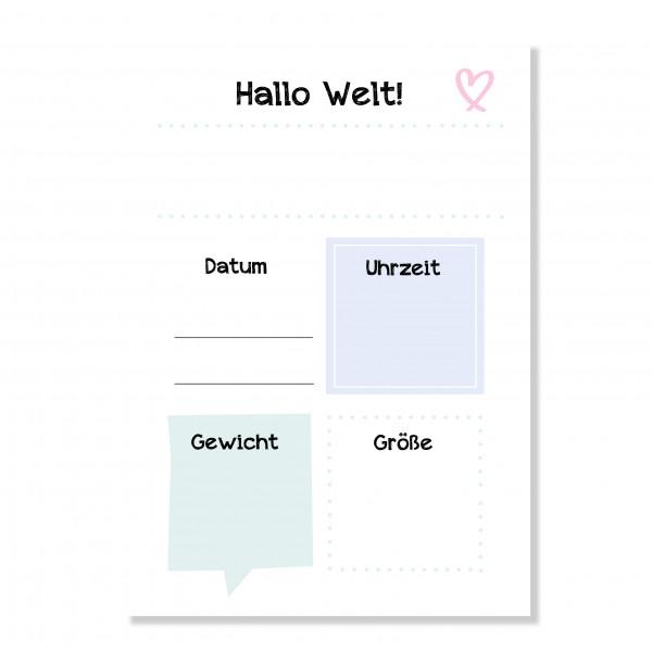"""Geburtskarte """"Hallo Welt"""""""