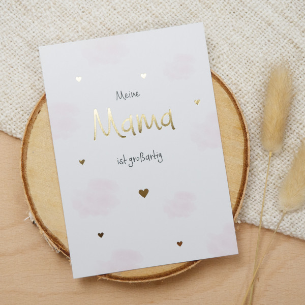 "Postkarte Gold ""Meine Mama ist großartig"""