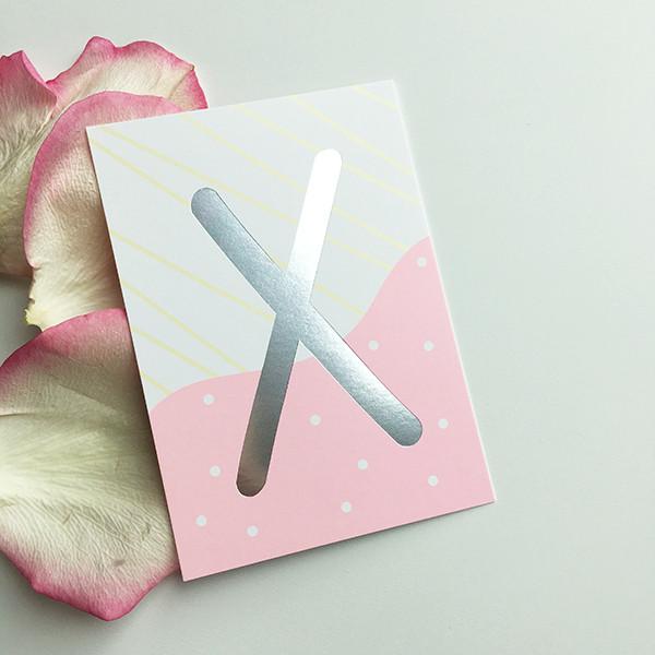 """Mini-Kärtchen """"X"""" - Silber & Pastell"""