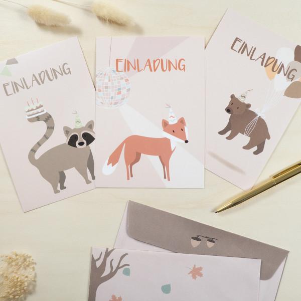 Einladungskarten Set zum Kindergeburtstag - Wald