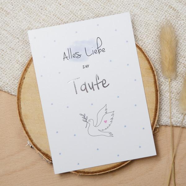 """Postkarte Silber """"Alles Liebe zur Taufe"""""""