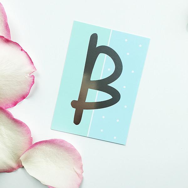 """Mini-Kärtchen """"B"""" - Silber & Pastell"""
